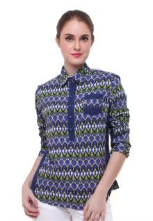 Regular Fit - Kemeja Wanita - Motif Batik - Biru