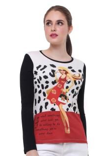 Regular Fit - Kaos Wanita - Bergambar - Lengan Panjang - Putih