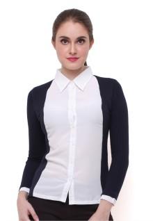 Regular Fit - Kemeja Wanita - Model Sweater - Lengan Rajut - Putih