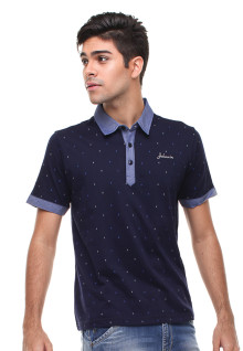 Slim Fit - Polo Casual - Polkadot - Biru