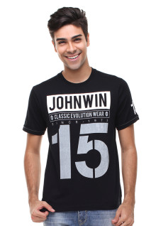 Slim Fit - Kaos Casual Active - Sablon - Hitam