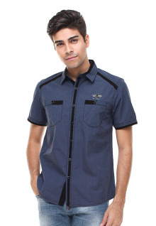 Slim Fit - Fashion Shirt - Kantong Dua - Biru