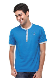 Slim Fit - Kaos Fashion - Model Henley - Biru