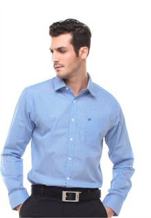Regular Fit - Kemeja Formal - Bahan Bercorak - Biru