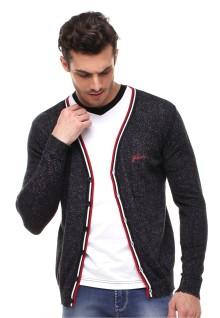 Sweater Pria - Kancing Warna - Kerah Vneck - Abu