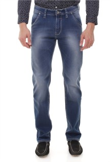 Slim Fit - Jeans Panjang - Washed Detail - Biru