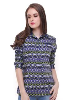 Regular Fit - Kemeja Wanita - Motif Batik - Variasi Warna - Biru