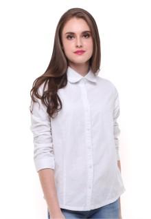 Regular Fit - Kemeja Wanita - Motif Polos - Putih