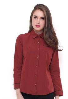 Regular Fit - Kemeja Wanita - Lengan Panjang - Garis Hitam - Merah
