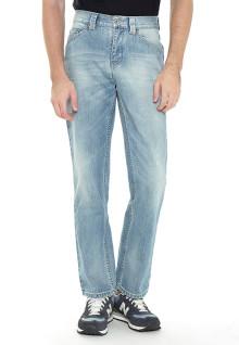 Regular Fit - Jeans - Biru Muda - Aksen Washed - Whisker