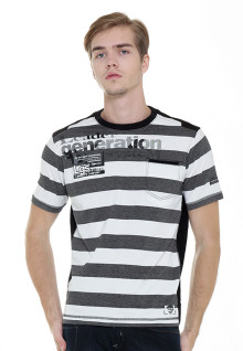 Slim Fit - Stripe Tee - White/Gray - LGS Casual