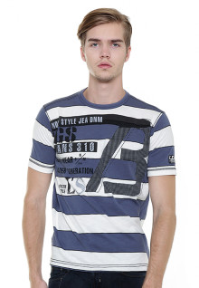 Slim Fit - Stripe Tee - Blue/White - Jeans 310