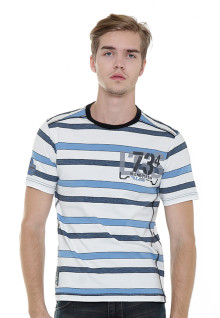 Slim Fit - Stripe Tee - Blue/White - LGS 734