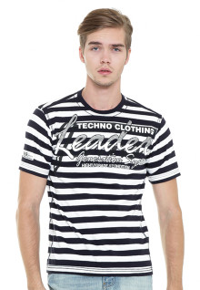Slim Fit - Stripe Tee - Black/White - Salur Techno Clothing