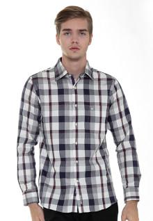 Regular Fit - Formal Shirt - Gray/Brown/White - Plaid Shirt