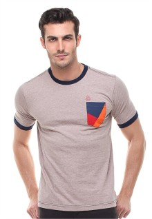 Slim Fit - Kaos Casual - Kantong Warna - Coklat