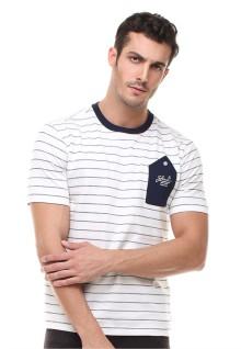 Slim Fit - Kaos Casual Active - Bergaris - Putih