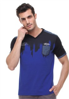 Slim Fit - Kaos Fashion - Motif Shadow - Biru