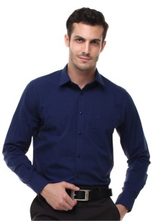 Regular Fit - Kemeja Formal - Tekstur Kotak - Biru