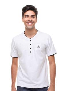 Slim Fit - Kaos Casual Active - Model Henley - Putih