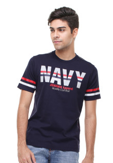 Slim Fit - Kaos Casual - Sablon Navy - Biru
