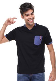 Slim Fit - Kaos Casual Active - Kerah Vneck - Hitam