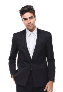 Slim Fit - Jas Pria - Model Tuxedo - Hitam