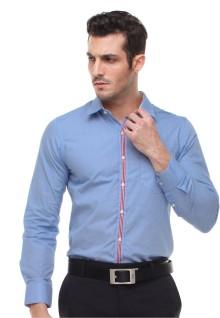 Slim Fit - Kemeja Formal - Motif Kancing Warna - Bercorak - Biru
