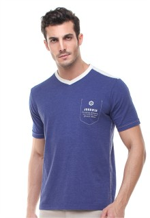Slim Fit - Kaos Casual - Vneck - Biru