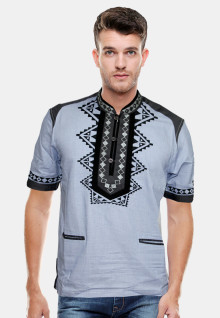 Slim Fit - Koko - Motif Bordil - Abu