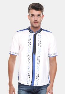 Baju Koko Motif Simetris - Putih - Slim Fit