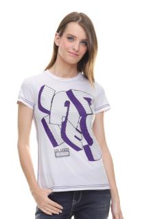 Regular Fit - Kaos Wanita - Sablon Teks - Putih