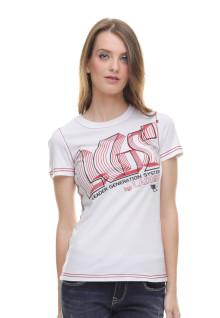 Regular Fit - Kaos Wanita - Sablon Logo - Putih