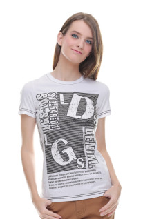 Regular Fit - Kaos Wanita - Motif Sablon - LDS - Putih