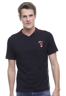Slim Fit - Kaos Casual - Vneck - Hitam