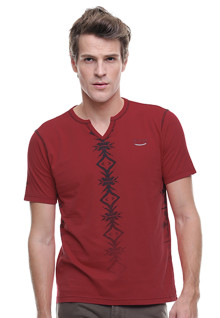 Slim Fit - Kaos Fashion - Kerah Variasi - Merah