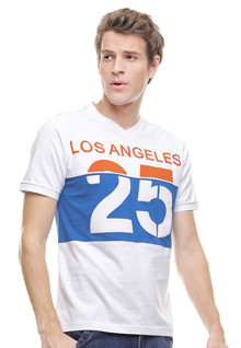 Slim Fit - Kaos Casual - Los Angeles - Putih
