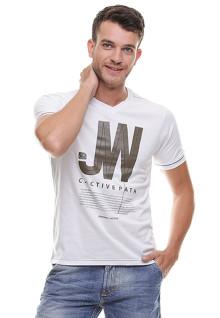 Slim Fit - Kaos Casual - Sablon Teks - Putih