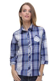Regular Fit - Kemeja Wanita - Motif Kotak - kantong Satu - Biru