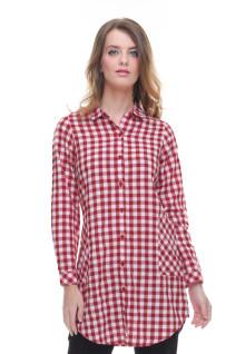 Regular Fit - Kemeja Wanita - Dress - Kotak - Merah