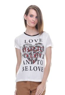 Regular Fit - Kaos Wanita - Motif Sablon - Putih