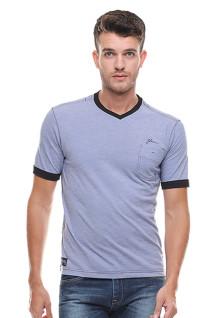 Slim Fit - Kaos Casual Active - Vneck - Biru Abu