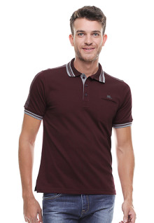 Regular Fit - Kaos Polo Casual - Kerah Garis - Coklat