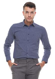 Slim Fit - Kemeja Formal - Lengan Panjang - Kotak - Biru