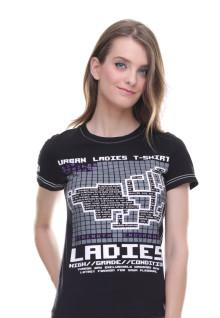 Regular Fit - Kaos Wanita - Gambar Sablon - Urban Ladies - Hitam