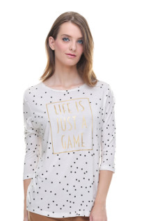 Regular Fit - Kaos Wanita - Lengan Panjang - Putih