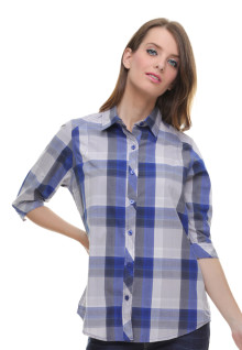 Regular Fit - Kemeja Wanita - Kotak Besar - Biru
