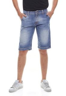 Slim Fit - Jeans Bermuda - Full Whisker - Washed - Biru