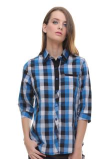 Regular Fit - Kemeja Wanita - Lengan Gantung - Biru
