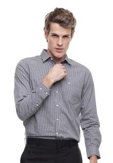 Slim Fit - Kemeja Formal - Motif Kotak - Hitam Putih